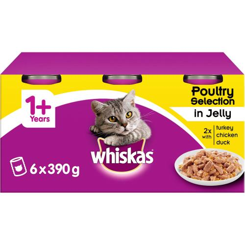 Whiskas 1+ Jelly Poultry Tinned Cat Food 6x 390g