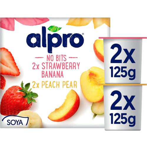 Alpro No Bits Strawberry Peach Yogurt Alternative 4x 4 x 125g