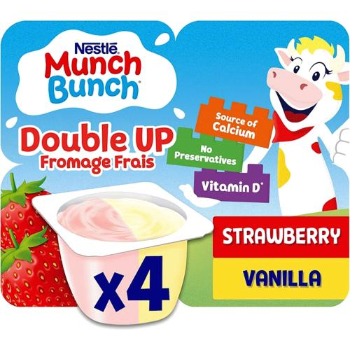Munch Bunch Double Up Fromage Frais Strawberry Vanilla 4x 340g 4 x 85g