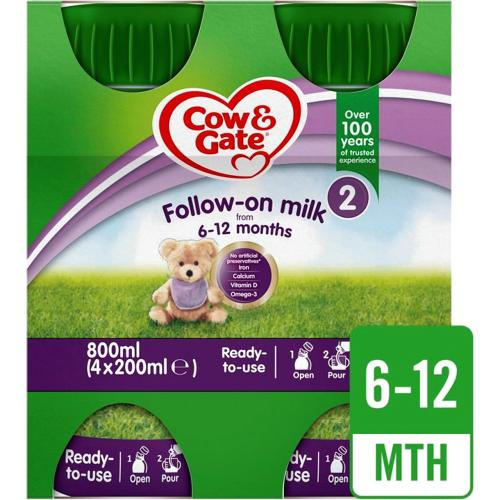 Cow & Gate 2 Follow On Baby Milk Formula Multipack 4x 200ml