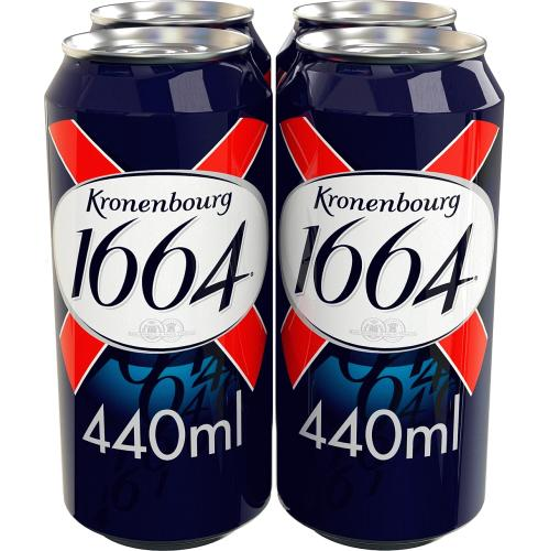 Kronenbourg 1664 Lager Beer 4x Cans 4 x 440ml