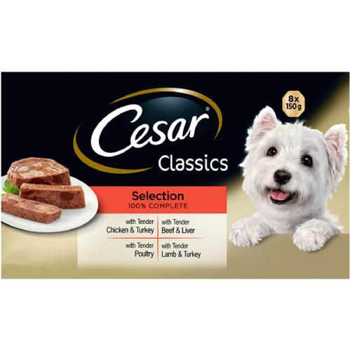 Cesar Classic Selection Dog Food Trays 8x 150g