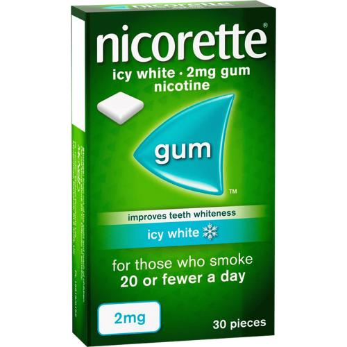 Nicorette Icy White Gum - 2mg, x 30 Pieces