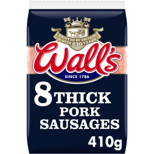 Walls 8 Thick Pork Sausages 410g